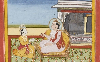 An illustration to the Mahabharata, Jaipur, circa 1790, opaque pigments on paper, 14 x 14.7cm Provenance: Private German Collection formed in the 1970s
