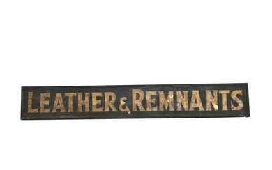 Antique Signage, Leather and Remnants Painted Wood