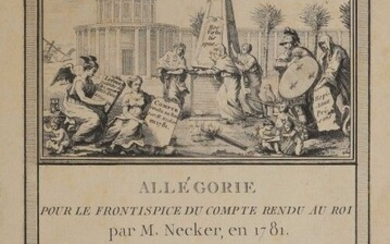 [Binding with the arms]. NECKER (Jacques). Account rendered to the King in January 1781. In Paris, from the Royal Printing Office, 1781. In-4, [2] f., 116 p., front, 1 folding typographed table, 2 coloured engraved maps out of text, contemporary...