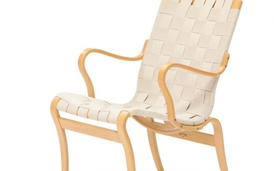 """Bruno Mathsson: """"Mina"""". A beech easy chair, seat and back with natural girths. Mathsson International. – Bruun Rasmussen Auctioneers of Fine Art"""