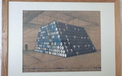 """Christo and Jeanne-Claude, """"The Mastaba - 1240 Oil Barrels (Project for the Institute of Contemporary Art, Philadelphia)"""""""