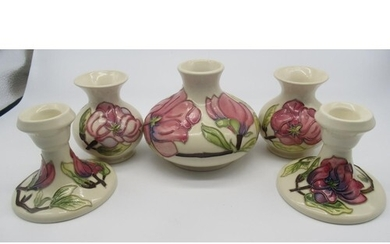 Collection of Moorcroft including two small baluster vases, ...