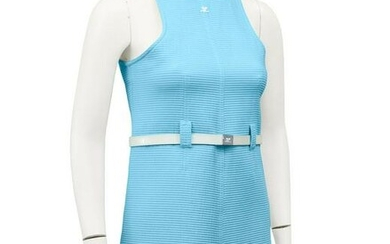 Courrèges Blue Cotton Ribbed Day Dress with White Belt