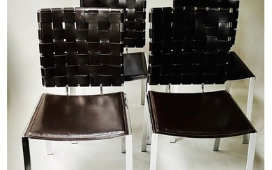 DINING CHAIRS, a set of four, contemporary leather and chrom...