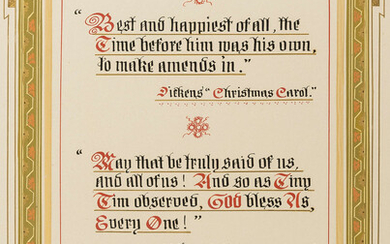 Dickens (Charles).- Birmingham Sunday Lecture Society.- Illuminated address to Ben Nathan for his years of service to the society including a yearly public recitation of Dickens's Christmas Carol, illuminated manuscript in colours, red morocco, gilt...