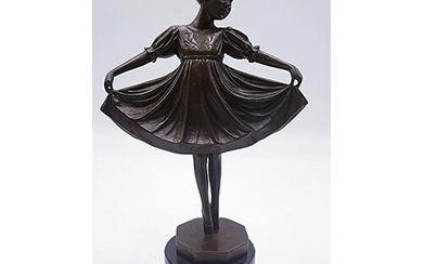 FRENCH BRONZE 30cm FIGURINE OF A GIRL MOUNTED ON A MARBLE BA...