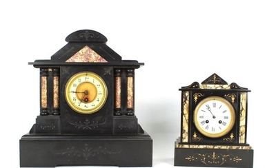 French black slate and red marble mantel clock timepiece, th...