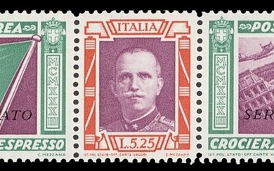 Italy 1933 Balbo Official Air 5L. 25 + 44L. 75 green and scarlet/scarlet/green, unmounted mint...