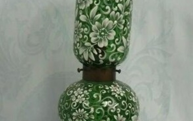 LARGE MAGNIFICENT PROFUSELY ENAMELED MOSER LAMP WITH