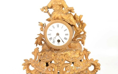 Late 19th Century French gilt spelter mantel clock