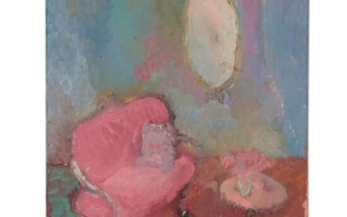 Laura Allgood Acrylic Painting of an Interior Scene, Late 20th Century