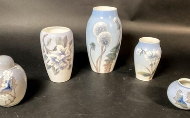 Lot of 5 B&G and Royal Copenhagen Vases and Jar