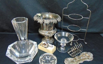 Lot silver plate & crystal, Orrefors bowl & matching