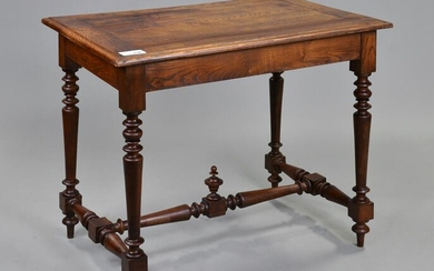 Louis XVI Style Oak Table With Finial Stretcher
