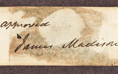 """MADISON, JAMES. Clipped Signature, """"approved / James"""