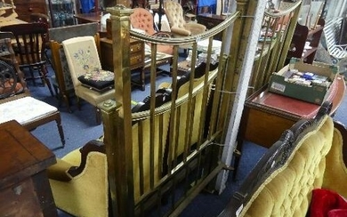 Maple & Co; A pair of antique brass single (36in) Bed Frames...