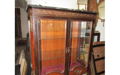 Marble Top Twin Drawer Glazed Display Cabinet with Ormolu De...