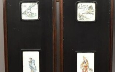 Pair Chinese Porcelain Plaque Wood Framed Panels - Each