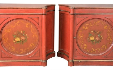 Pair of Adams Style Cabinets, in red paint having