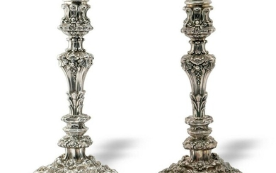 Pair of English Sterling Rococo Candlesticks