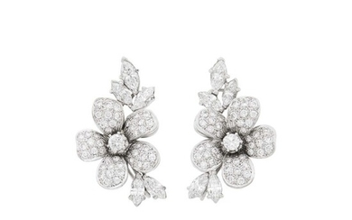 Pair of White Gold and Diamond Flower Earclips