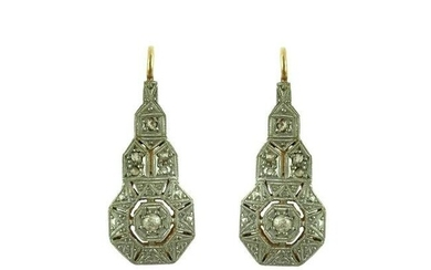 Pair of art deco earrings in 18 K white and yellow