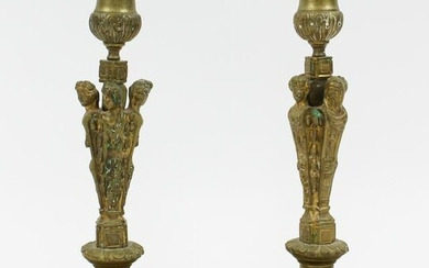 Pair of ca 1900 French Figural Brass Candlesticks
