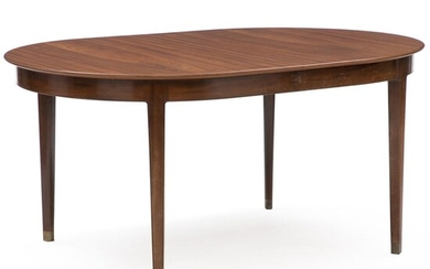 NOT SOLD. Peder Pedersen: Dining table of mahogany with profiled edges and brass shoes, including one extension leaf. H. 75 cm. L. 159 cm/190 cm W. 110.5 cm. (2) – Bruun Rasmussen Auctioneers of Fine Art