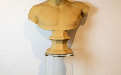 Plaster bust of a Greek young man on a plexi pedestal