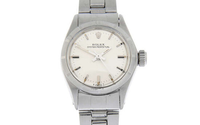 ROLEX - a stainless steel Oyster Perpetual bracelet watch, 25mm.