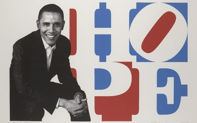Robert Indiana, American 1928-2018- Obama Hope, 2009; screenprint in colours on wove, signed, dated and numbered PP 1/1 in pencil, a proof aside from the edition of 25, sheet 75 x 102cm (framed) Provenance: purchased by the current owner from...