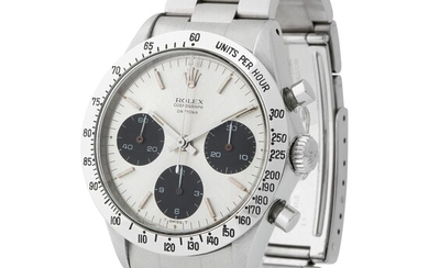 Rolex. Sought-after Daytona Chronograph Wristwatch in Steel, Reference 6239, With Silver Micro-Floating Daytona Dial