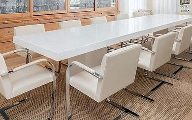 SET TWELVE CONTEMPORARY LEATHER UPHOLSTERED CHROME