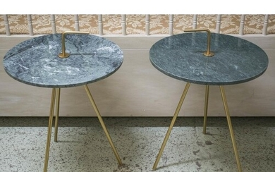 SIDE TABLES, a pair, vintage style, brass with circular gree...