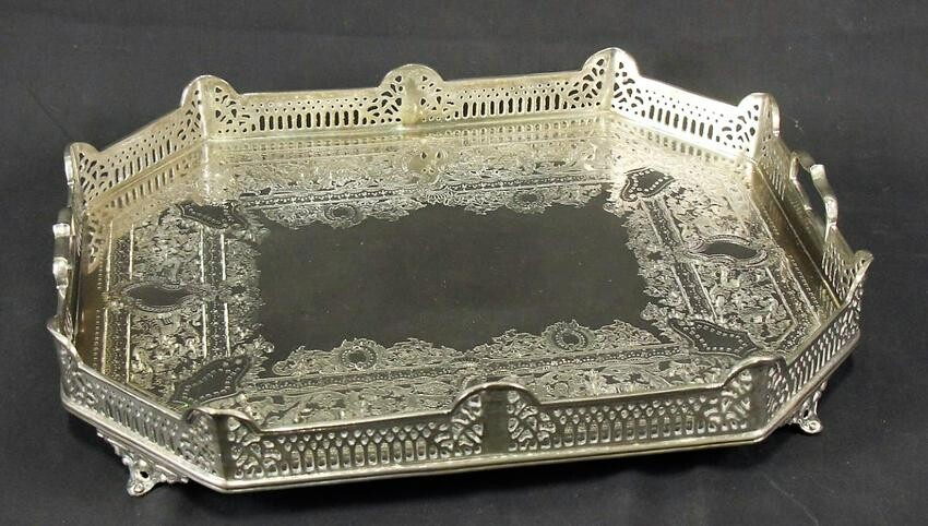SILVER PLATED FOOTED TRAY WITH RETICULATED GALLERY