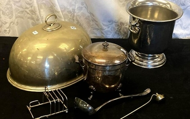 Silver-Plate Meat Dome, Champagne Bucket, and More