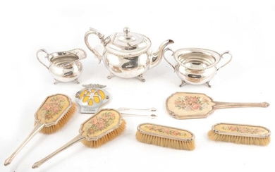 Silver part dressing table set, Mappin & Webb Ltd, Birmingham 1939, and other items.