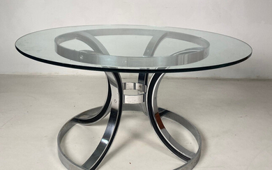 Solid dining table with glass top.