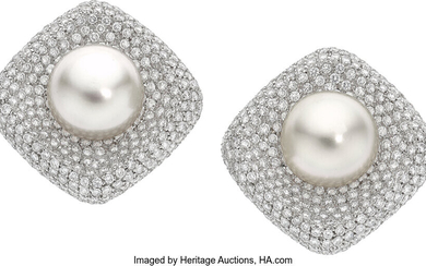 South Sea Cultured Pearl, Diamond, White Gold Earrings Stones:...