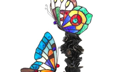 Stained Art Glass Double Butterfly Lamp