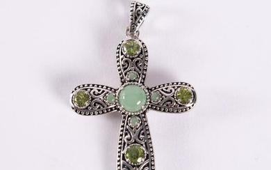 Sterling Silver Jade and Peridot Cross Pendant and
