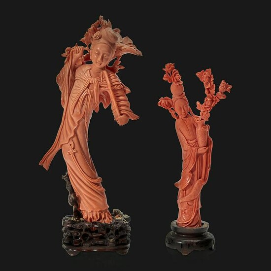 Two Chinese carved coral meiren