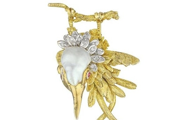Vintage Baroque Cultured Pearl and Diamond Long-Tailed