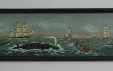 Vintage New England whaling painting.