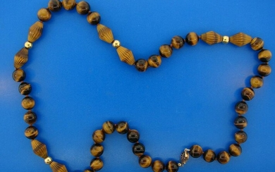 WOW 14k Yellow Gold & Tiger Eye Beaded Necklace