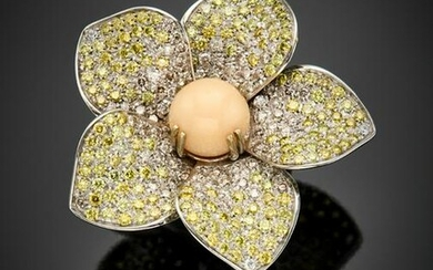 White gold fancy pink and yellow diamond pavé flower