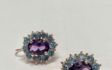 14 kt. Pink gold - Earrings - 8.00 ct Amethysts - Topazs