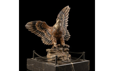 A 19th-century Viennese painted bronze alloy sculpture representing a golden eagle on marble base (h. cm 17)Read more