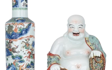 A Chinese blue and white and famille verte...