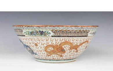 A Chinese porcelain Cantonese rose bowl, 19th/20th century, ...
